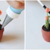 Step 2g - Add Dirt to Flowerpot: Photos by Aproned Artist