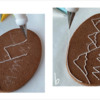 Steps 2a and 2b - Tap Off Excess Sugar, and Outline Design and Cookie: Design, Cookie, and Photos by Manu