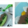 Steps 3c and 3d - Add Royal Icing Texture to Trees: Design, Cookie, and Photos by Manu