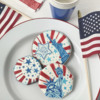 """Cookie (Top) with """"Happy 4th of  July"""" Message: Cookies and Photo by Julia M Usher; Stencils Designed by Julia M Usher with Confection Couture Stencils"""