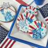 """Cookie with """"Happy 4th of  July"""" Message, Closer View: Cookies and Photo by Julia M Usher; Stencils Designed by Julia M Usher with Confection Couture Stencils"""