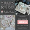 Wedding Cookie Stencil Sale Banner: Cookies and Photos by Julia M Usher; Stencils Designed by Julia with Confection Couture Stencils; Graphic Design by Confection Couture Stencils