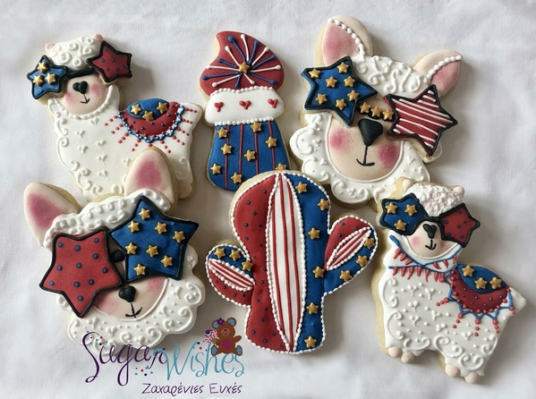 #3 - 4th of July Llama-Themes Cookies by Tina at Sugar Wishes