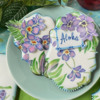 "Small ""Aloha"" Cookie Close-up: Cookies and Photo by Julia M Usher; Stencils Designed by Julia M Usher with Confection Couture Stencils"