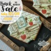 Back to School Sale Banner: Cookies and Photo by Julia M Usher; Stencils Designed by Julia M Usher with Confection Couture Stencils; Graphic Design by Confection Couture Stencils