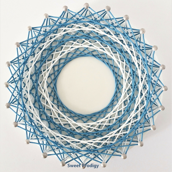 #6 - Blue and White String Art by Sweet Prodigy