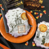"""Trick or Treat"" Message in Square Frame: Cookies and Photo by Julia M Usher; Stencils Designed by Julia M Usher with Confection Couture Stencils"