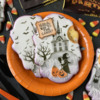 """Witch Way to the Candy"" Message with Witch Foreground Element: Cookies and Photo by Julia M Usher; Stencils Designed by Julia M Usher with Confection Couture Stencils"