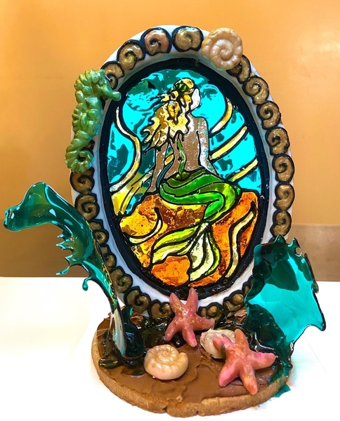 2 Stained Glass Mermaid