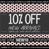 New Arrivals Stencil Sale Banner: Graphic Design by Confection Couture Stencils