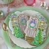 Closer View of Two Cookies Using Just the Background Set: Cookies and Photo by Julia M Usher; Stencils Designed by Julia M Usher with Confection Couture Stencils