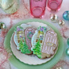 "Small Cookie with ""Noel"" Message: Cookies and Photo by Julia M Usher; Stencils Designed by Julia M Usher with Confection Couture Stencils"