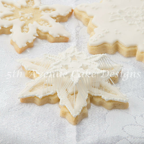 Suspended String-Work Snowflake Cookie by bobbiebakes