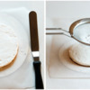 Step 5a - Spread Royal Icing and Dust with Powdered Sugar: Cookie and Photos by Aproned Artist