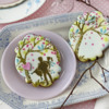 Cookie with Man-Holding-Woman Foreground Element: Cookies and Photo by Julia M Usher; Stencils Designed by Julia M Usher with Confection Couture Stencils