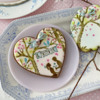 "Cookie with ""LOVE"" Bunting: Cookies and Photo by Julia M Usher; Stencils Designed by Julia M Usher with Confection Couture Stencils"