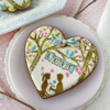 "Closer View of Cookie with ""LOVE"" Bunting: Cookies and Photo by Julia M Usher; Stencils Designed by Julia M Usher with Confection Couture Stencils"