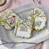 Assorted Message Cookies Without Any Foreground Elements: Cookies and Photo by Julia M Usher; Stencils Designed by Julia M Usher with Confection Couture Stencils