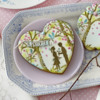 "Cookie with Contoured Fondant ""LOVE"" Bunting: Cookies and Photo by Julia M Usher; Stencils Designed by Julia M Usher with Confection Couture Stencils"