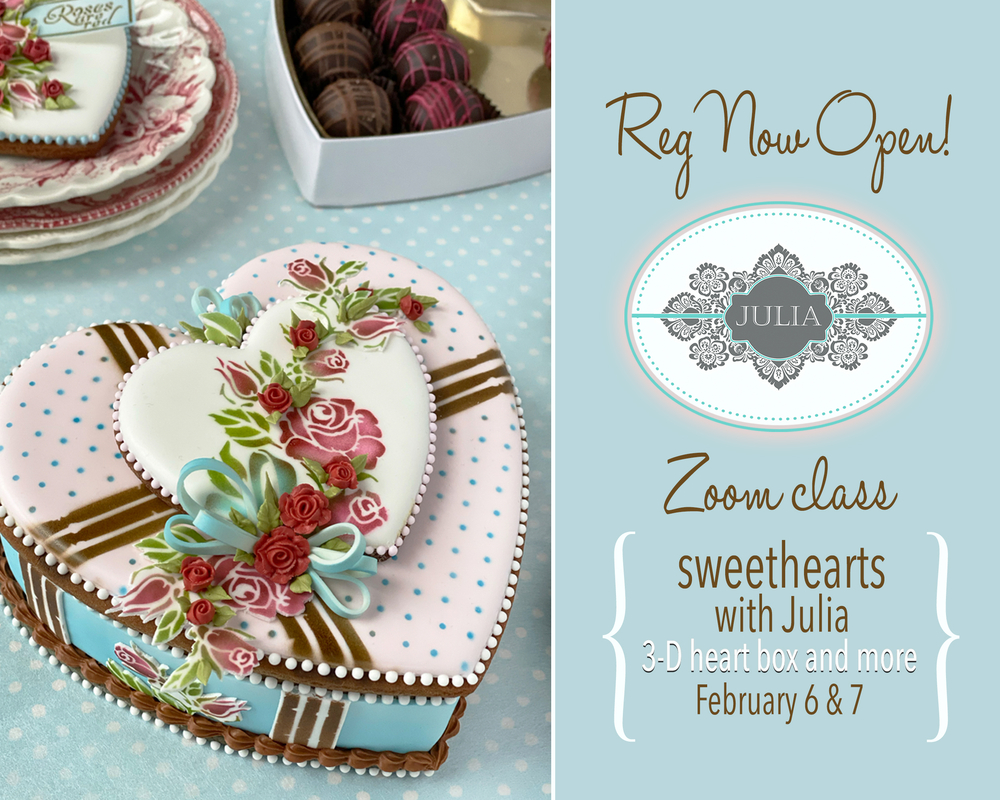 "Julia's February Zoom Cookie Class - ""Sweethearts"""