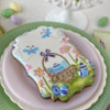 Side View of Basket Fondant Appliqué: Cookie and Photo by Julia M Usher; Stencils Designed by Julia M Usher with Confection Couture Stencils