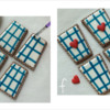 Steps 2e and 2f - Paint Perpendicular Stripes and Glue Heart Transfers: Cookies and Photos by Manu