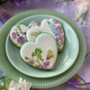 Small Dimensional Wafer Paper Butterfly and Sweet Pea: Cookies and Photo by Julia M Usher; Stencils Designed by Julia M Usher with Confection Couture Stencils