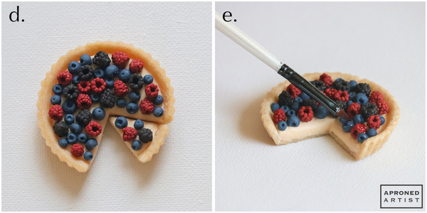 Steps 2d and 2e - Fill Tart and Brush Fruit with Corn Syrup