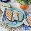 Hearts with Bigger Buttons: Cookies and Photo by Julia M Usher; Stencils Designed by Julia M Usher with Confection Couture Stencils