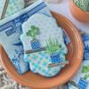 Blue-Tiled Version Using Fondant Appliqués: Cookie and Photo by Julia M Usher; Stencils Designed by Julia M Usher with Confection Couture Stencils