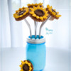 Finished Sunflower Bouquet in Mason Jar: Cookies and Photo by Manu
