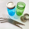 Colored Mason Jars and Bent Stainless Steel Straws: Photo by Manu