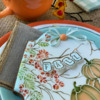 """Closer View of Dimensional """"FALL"""" Bunting: Cookie and Photo by Julia M Usher; Stencils Designed by Julia M Usher with Confection Couture Stencils"""