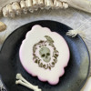 Creepy Molded Fondant Bones!: Cookie and Photo by Julia M Usher; Stencils Designed by Julia M Usher with Confection Couture Stencils