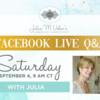 Facebook Live Q&A Banner: Graphic Design by Elizabeth Cox; Photo by Karen Forsythe