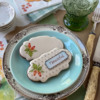 Two Ivory Cookies; One Now with Framed Message!: Cookies and Photo by Julia M Usher; Stencils Designed by Julia M Usher with Confection Couture Stencils