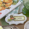 Closer View of My Place Card: Cookie and Photo by Julia M Usher; Stencils Designed by Julia M Usher with Confection Couture Stencils
