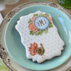 Custom Blue Monogram Appliqué Looks Great Too!: Cookie and Photo by Julia M Usher; Stencils Designed by Julia M Usher with Confection Couture Stencils