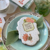 Added Fondant Floral Appliqué - Always a Good Idea!: Cookie and Photo by Julia M Usher; Stencils Designed by Julia M Usher with Confection Couture Stencils