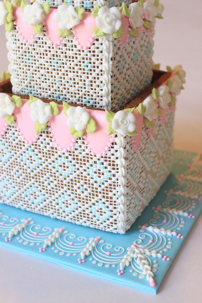 Needlepoint Detail on 3-D Cookie Cakes by Julia M. Usher
