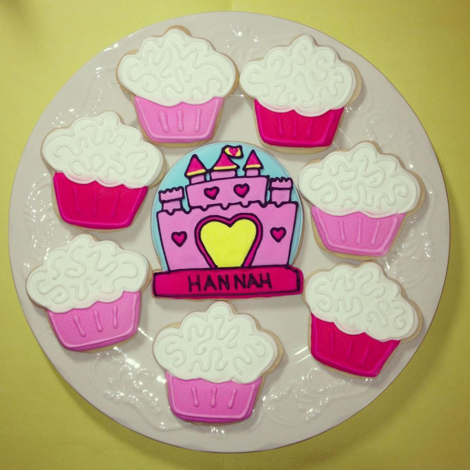 Princess Castle and Cupcakes Birthday Cookies