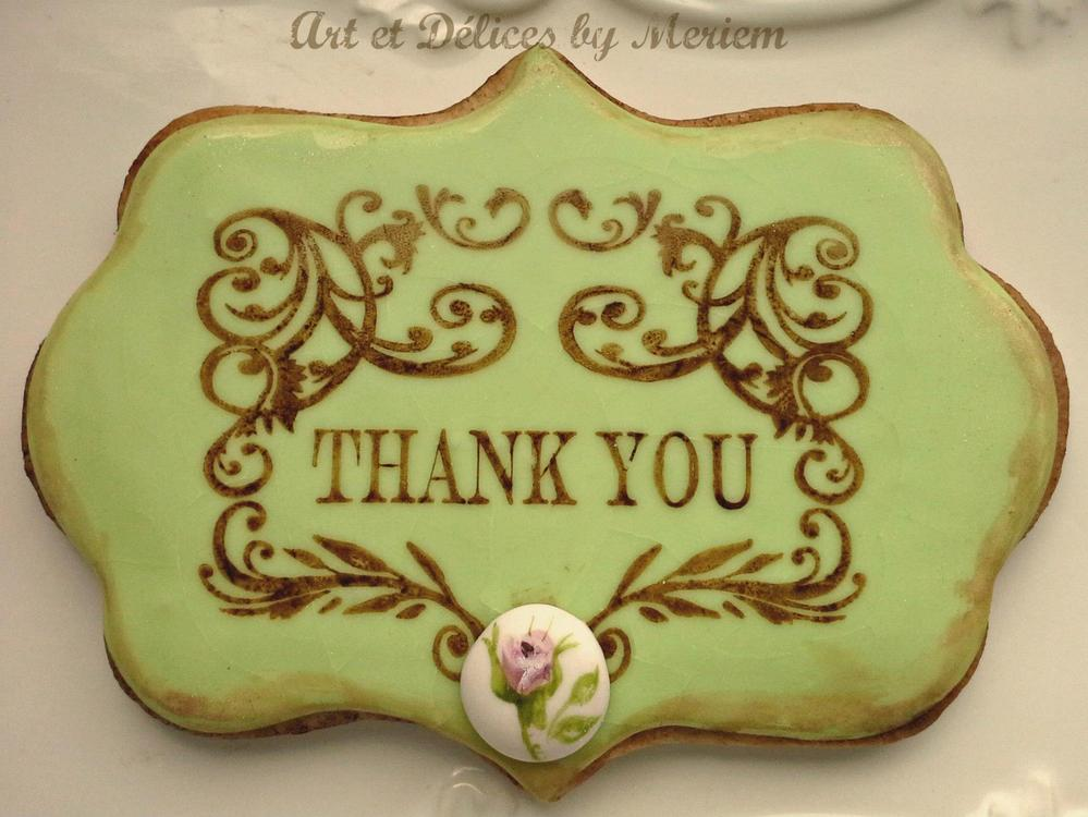 Vintage THANK YOU note cookie