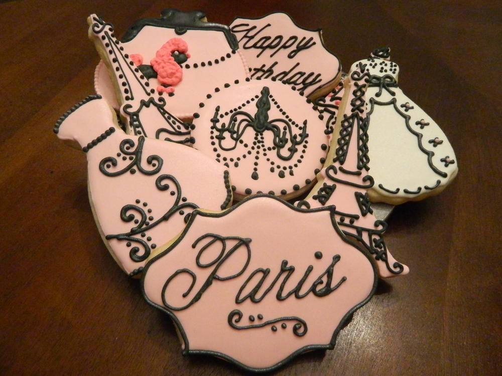 Paris Themed Birthday Cookies