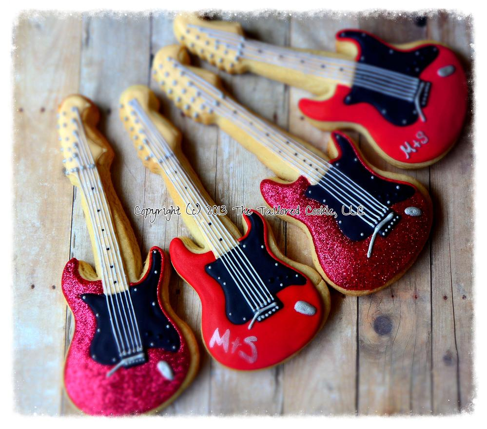 Electric Guitar Shortbread Sugar Cookie Favors by The Tailored Cookie