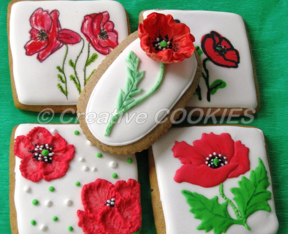 Poppy Flowers Using Different Techniques Cookie Connection