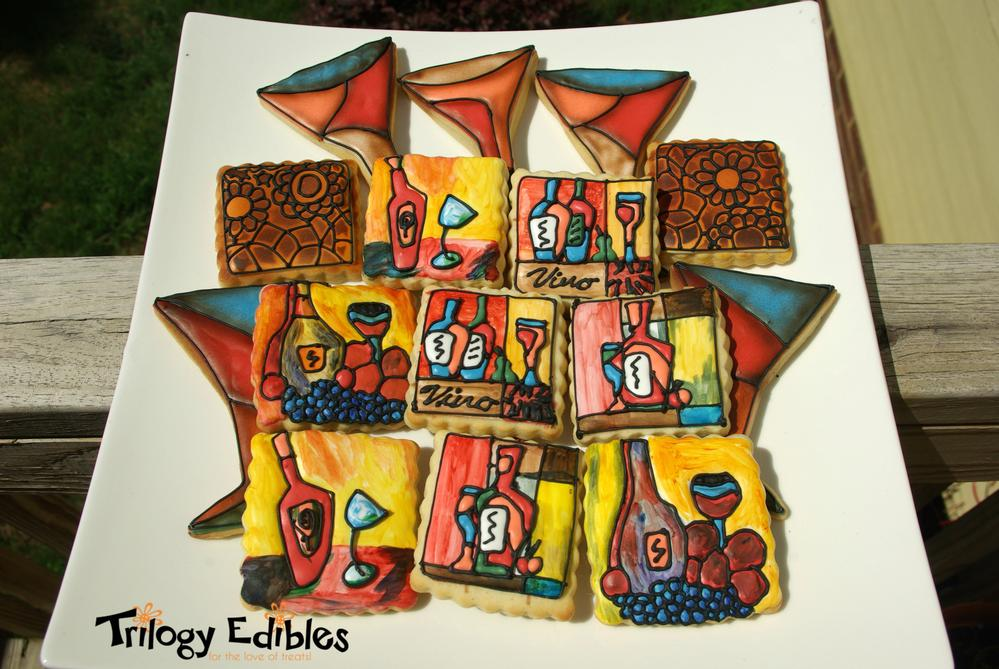 Abstract Stain Glass Cookies for Moore, OK auction