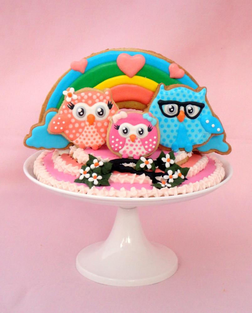 Owl family cake topper