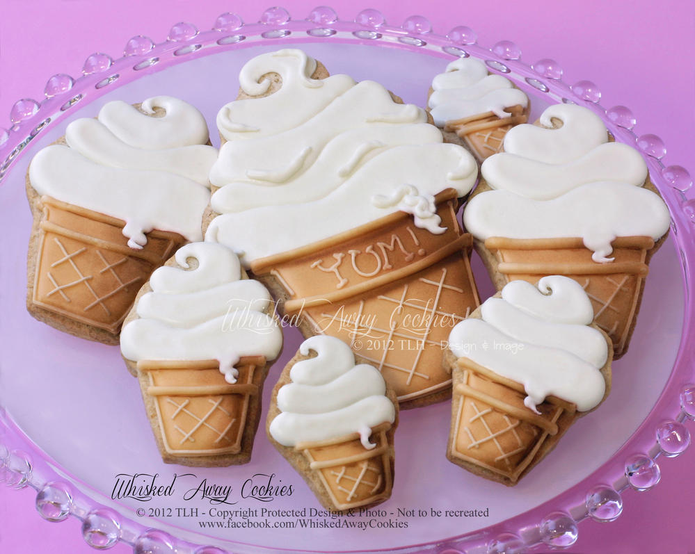 """Yum!"" ~ Ice Cream Cones ~ ©The Cookie Connoisseur/Whisked Away Cookies"