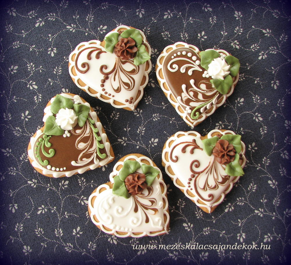 white-green-brown hearts