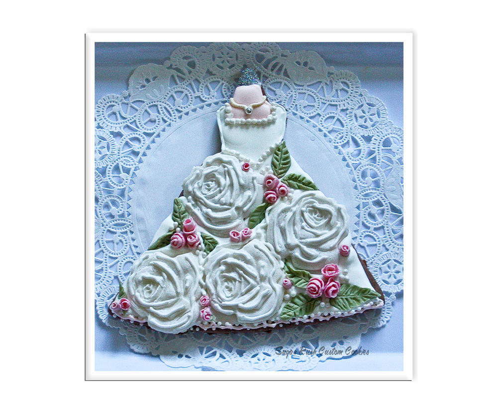 Royal Icing Rose Wedding Dress Cookie | Cookie Connection